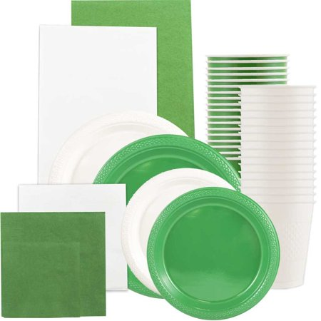 Graduation Plates And Napkins (JAM Paper Party Supply Assortment, Green & White Grad Pack, Plates (2 Sizes), Napkins (2 Sizes), Cups & Tablecloths,)