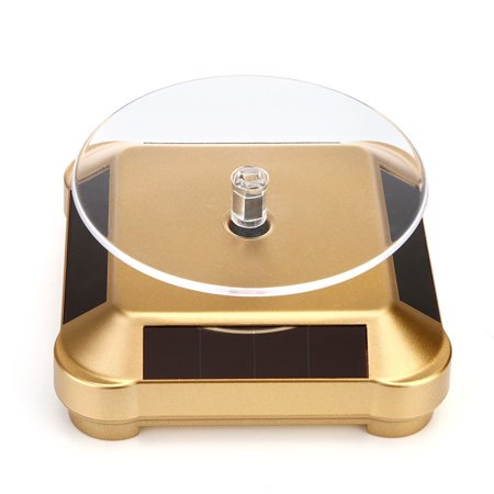Solar Powered 360 Degree Rotating Display Stand Turn Plate Turntable Display Stand for Jewelry Watch Ring Phone Decoration