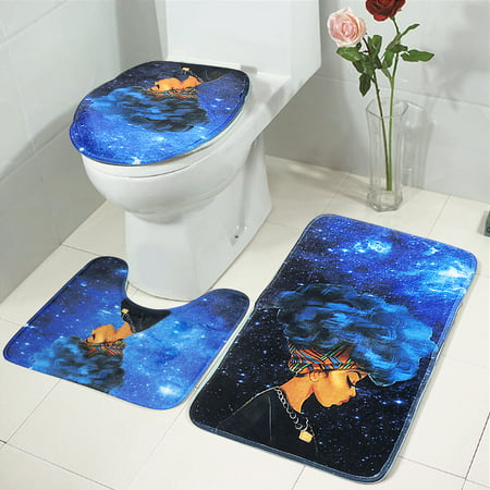 3Pcs Non-Slip African Girl Pedestal Floor Rug + Lid Toilet Cover +Bath Mat Doormat Carpet Bathroom Set Home Decor Christmas Gift ()