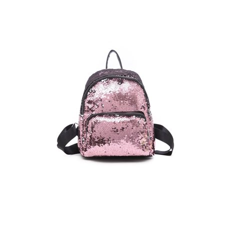 Women Girls Handbag Sequins Glitter Backpack Rucksack Travel Shoulder School Bag - Sequin Pink Backpack