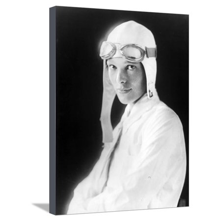 Amelia Earhart on Jet Pilot Costume Portrait Stretched Canvas Print Wall Art By Movie Star News