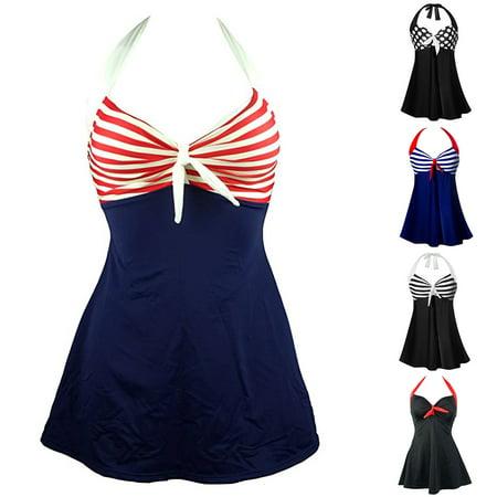 215802e52fc26 Girl12Queen - (Asian Size)Women Sexy Halter One Piece Swimsuit Monokini Dot  Stripes Swimwear Plus Size - Walmart.com