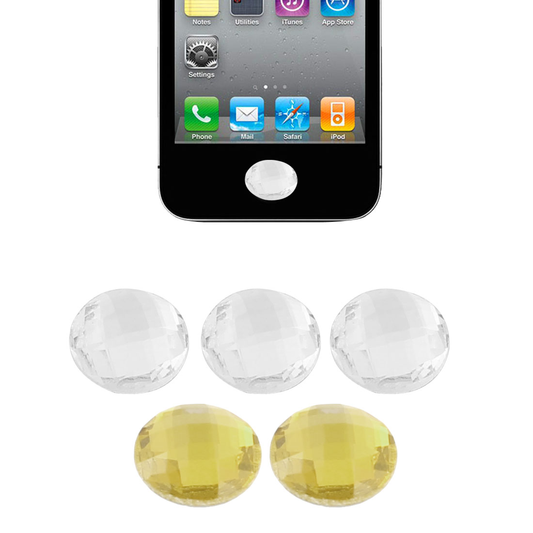 Unique Bargains 5 Pcs Plastic Round Circle Home Button Sticker Yellow Clear for iPad 1 2 3