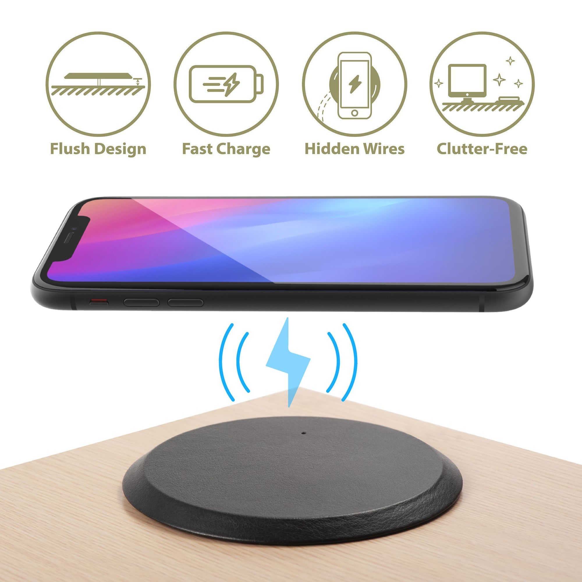ZENS Wireless Charging Pad Single Qi Charger Pad with 15 Watt Power Output Black Supports Apple iPhone and Samsung Galaxy Fast Charge -Includes AC//DC Adapter