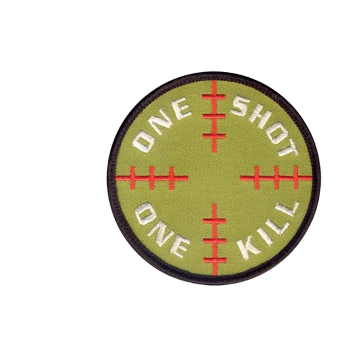 """Rothco One Shot, One Kill 3.25"""" Patch with Hook Backing, Sniper Crosshairs"""