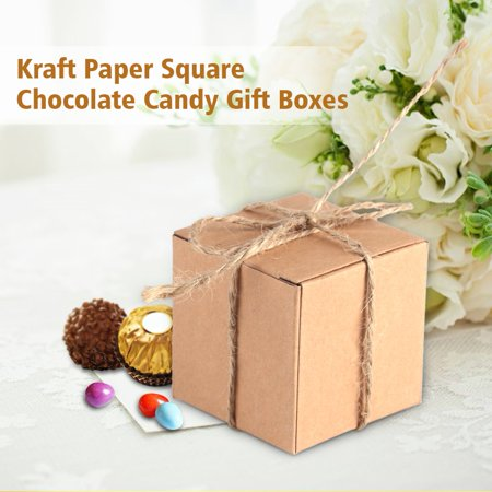 50PCS Brown Kraft Paper Square Wedding Favor Candy Chocolate Gift Party Supply Boxes, Kraft paper gift box, Wedding candy box (Square Gift Boxes Cardboard)