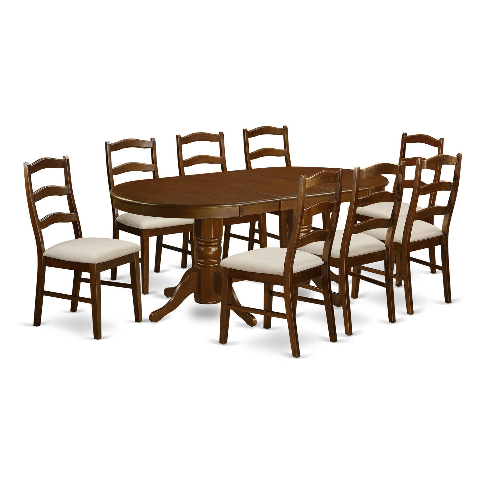 East West Furniture Vancouver 9 Piece Ladderback Dining Table Set
