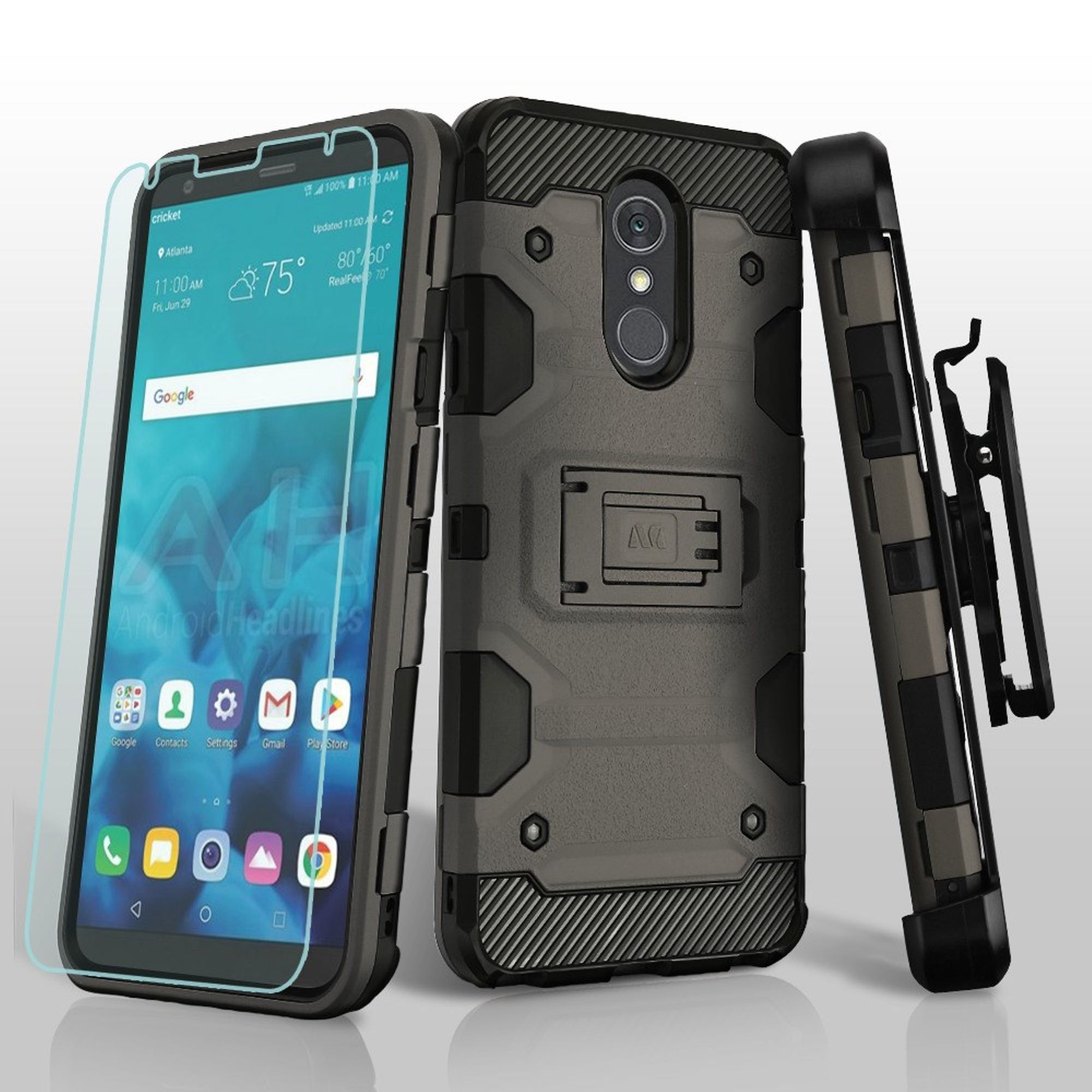 LG Stylo 4 Case, by Insten Storm Tank Dual Layer Hybrid Stand PC/TPU Rubber Holster Case Cover For LG Stylo 4 - Gray/Black