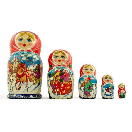 7'' Set of 5 Running Horses Trio Wooden Russian Nesting Dolls Matryoshka ()