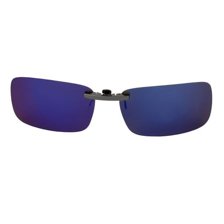 Unisex Travel Gradient Blue Lens Rimless Clip On Polarized Sunglasses (Blue Clip On Sunglasses)