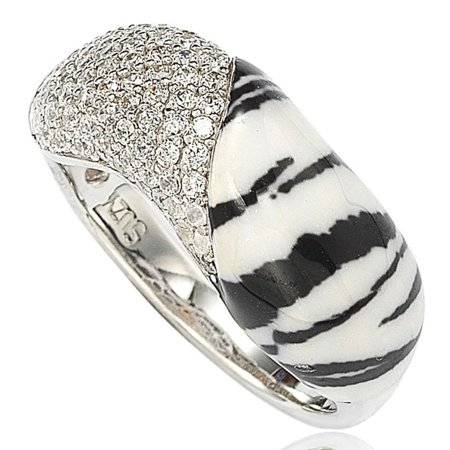 Cubic Zirconia Sterling Silver Pave & Animal Print Ring