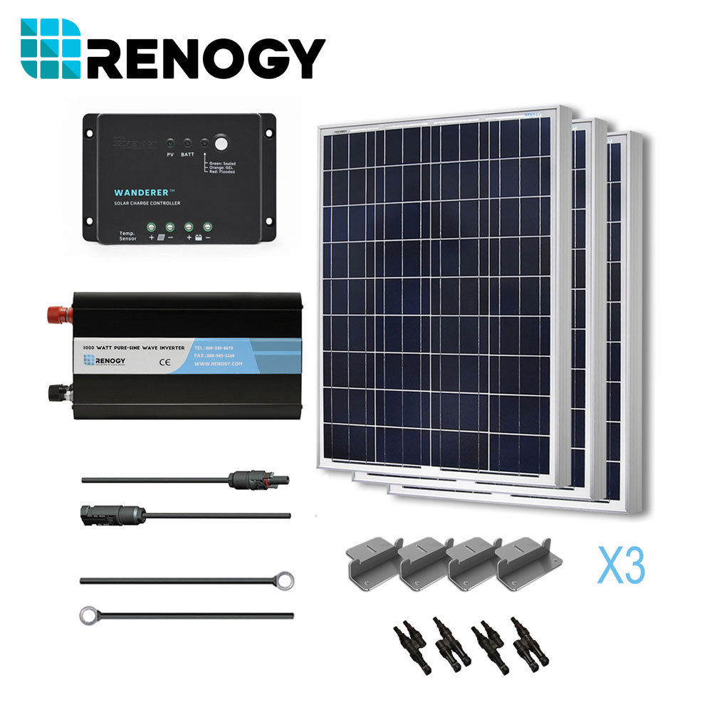 Solar Panel Complete 300 Watts Poly Kit w/ Inverter Off G...