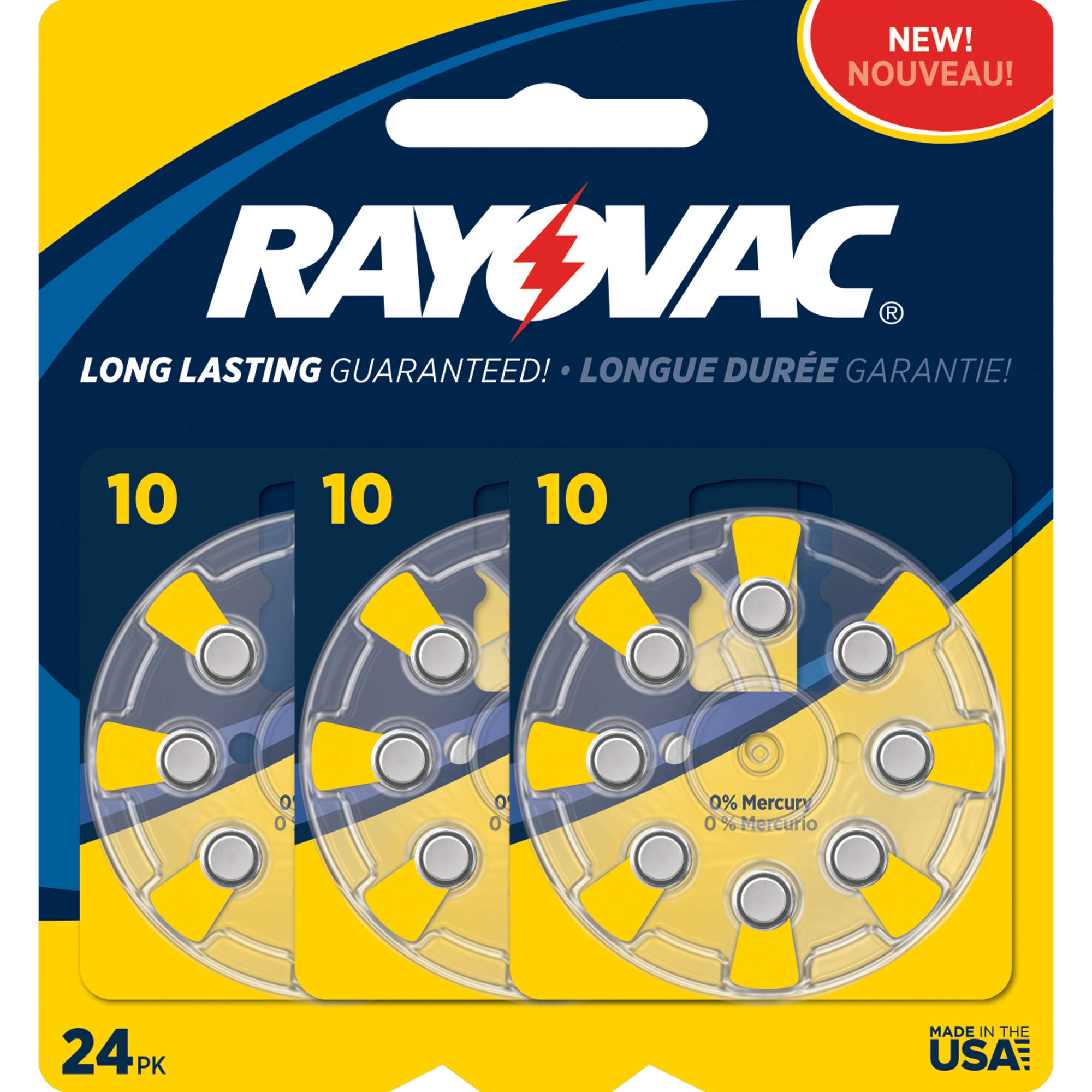 Rayovac Type 10 Hearing Aid Batteries, 24-Pack
