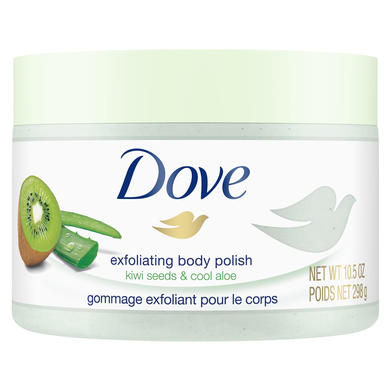 Dove Exfoliating Body Polish Kiwi & Aloe Body Scrub, 10.5 oz