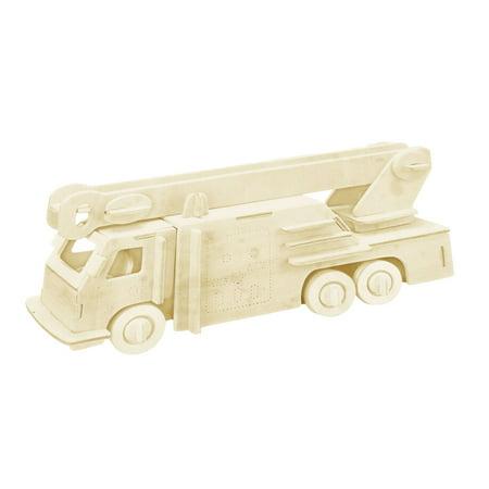 DIY Lover Wooden Assemble Fire Engine Model Construction Kit Toy Beige