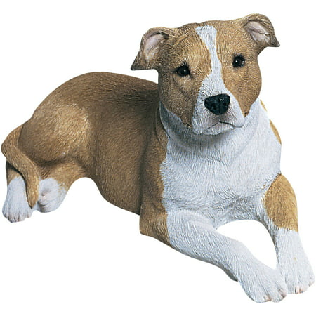 """Sandicast """"Mid Size"""" Lying Fawn & White UC Pit Bull Terrier Dog Sculpture"""
