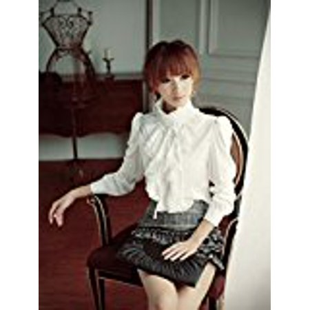 BellyLady Brand Noble Luxury Victorian Tops Women Shirt Ruffle Flounce Ladies Blouse (M, White)