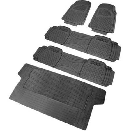 Spec-D Tuning PVC Floor Mat, 4-Piece Set, Grey + Trunk Piece