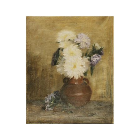 Asters in a Stoneware Jug on a Table Print Wall Art By Maria -