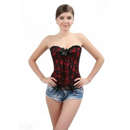 SAYFUT Fashion Womens Sexy Lace Jacquard Corset Intimates Shapewear With G-string Red Plus Size