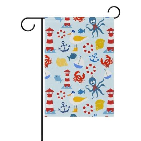 POPCreation Nautical Pattern Polyester Garden Flag Outdoor Flag Home Party Garden Decor 28x40 -