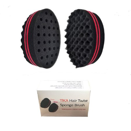 TIKA Double Barber Hair Sponge Brush Dreads Locking Twist Coil Afro Curl Wave
