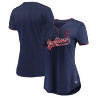 Women's Majestic Navy Cleveland Indians Memorable Season V-Neck T-Shirt