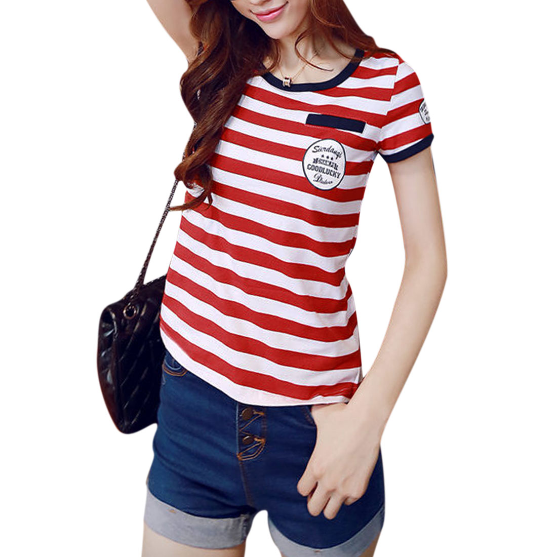Women's Stripes Letters Prints Round Neck Short Sleeves Casual Tee Red (Size S / 4)