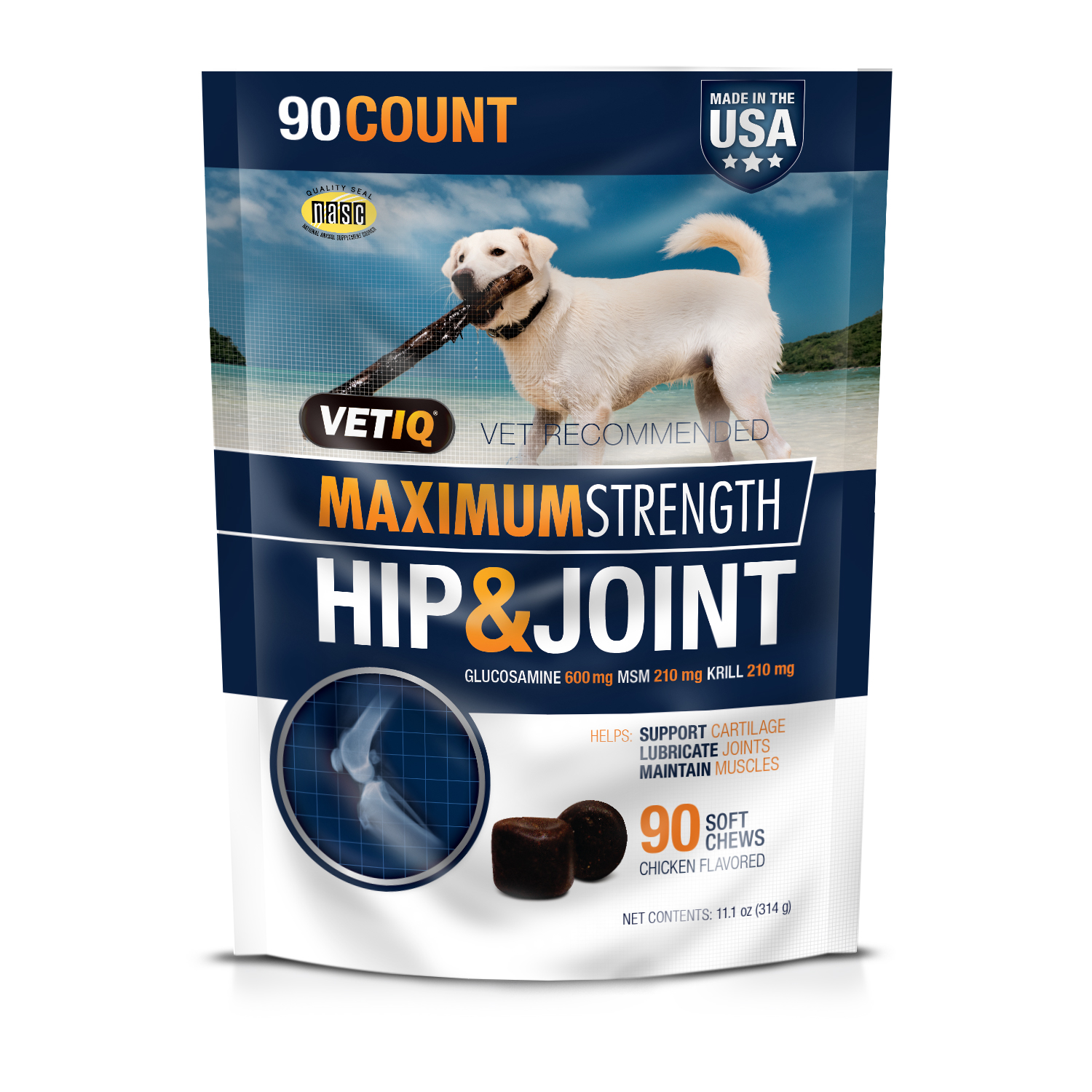 Vetiq Maximum Strength Hip & Joint Dog Supplement, 90 Count