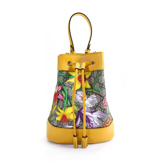 Pre-owned Gucci Ophidia GG Monogram Canvas Flora Pattern Drawstring Bucket Handbag Yellow