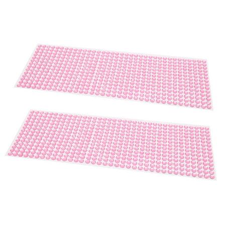 2Pcs Pink 6mm Self Adhesive Rhinestone DIY Car Phone Styling Sticker Decor Decal - image 1 de 1