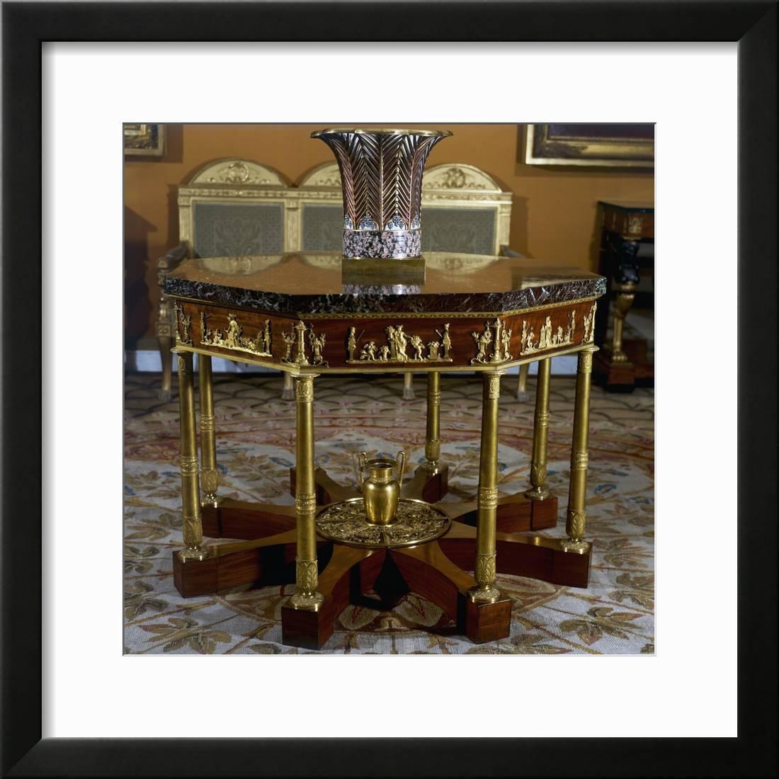 Gueridon Octagonal Shaped Mahogany Furniture Cau De Malmaison France 19th Century Framed Print Wall Art