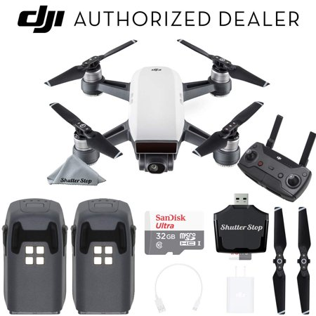 DJI Spark Drone Quadcopter (Alpine White) with Remote Controller, 2 Batteries, Sandisk 32GB Memory, Card Reader, Charger, Bundle Starter