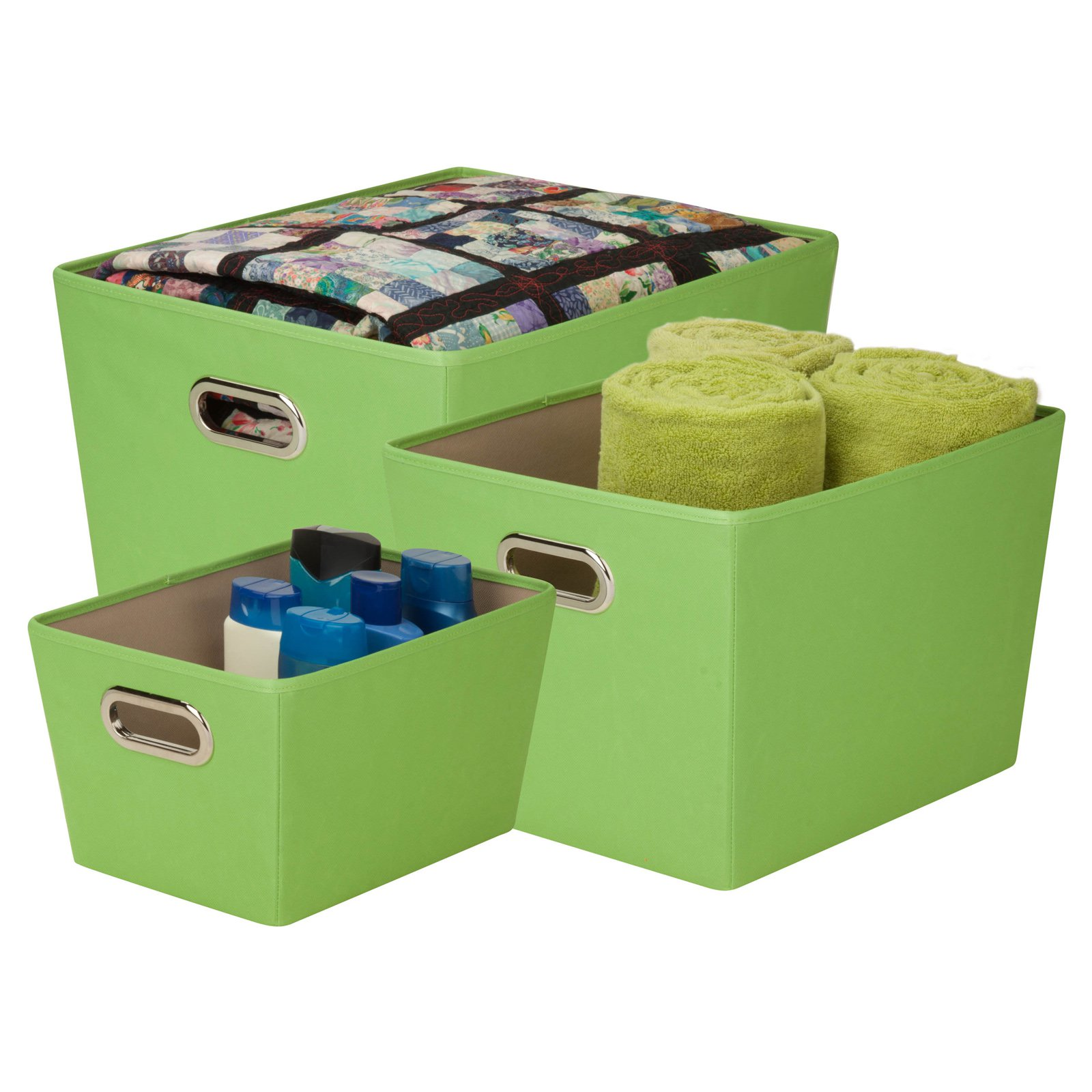 Click here to buy Honey Can Do Decorative Storage Bins with Handles, Multicolor (Set of 3) by Honey Can Do.