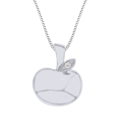 1/20 Ct Round Cut Natural Diamond Apple Pendant Necklace In 14K Solid White Gold