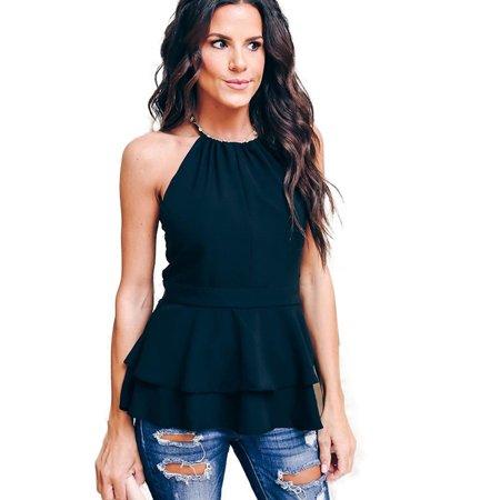 Women Ruffle Vest Shirt Halter Neck Tops Slim Waist Sleeveless Summer Backless Holiday Beach