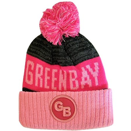 9fc999fc07e Green Bay GB Patch Ribbed Cuff Knit Winter Hat Pom Beanie (Pink Hot Pink  Patch) - Walmart.com