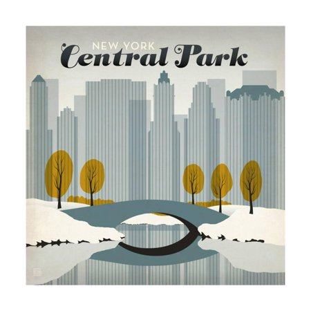 New York City: Early Snow In Central Park Art Deco Winter Travel Advertisement Print Wall Art By Anderson Design Group - Halloween City Winter Park