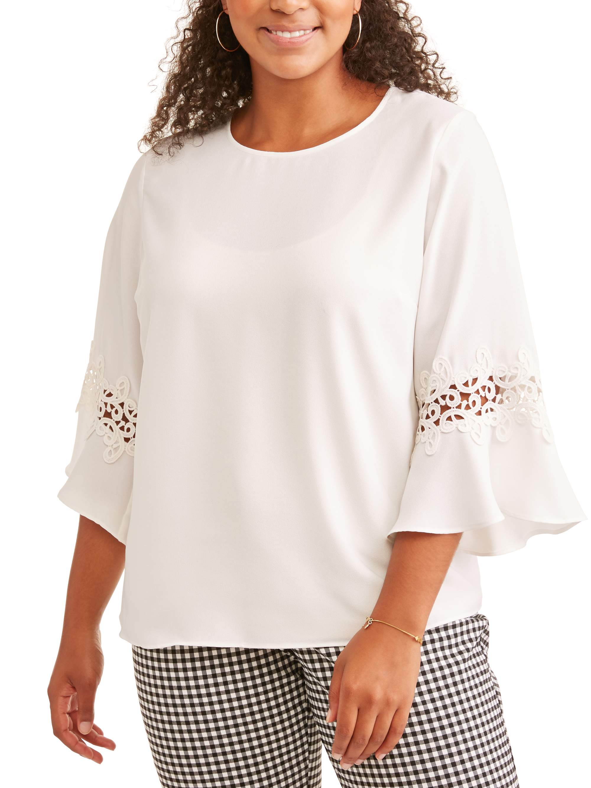 Women's Plus Cinched Elbow Flutter Sleeve Blouse