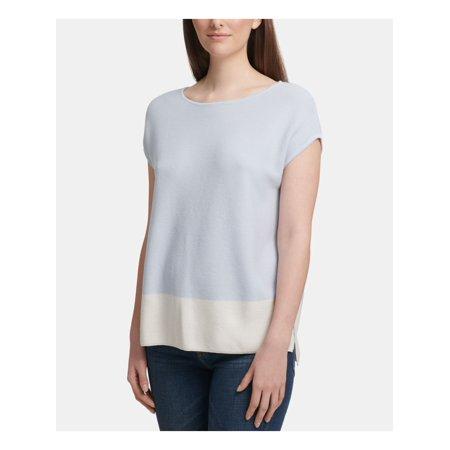 DKNY Womens Light Blue Color Block Cap Sleeve Crew Neck T-Shirt Top  Size: XL