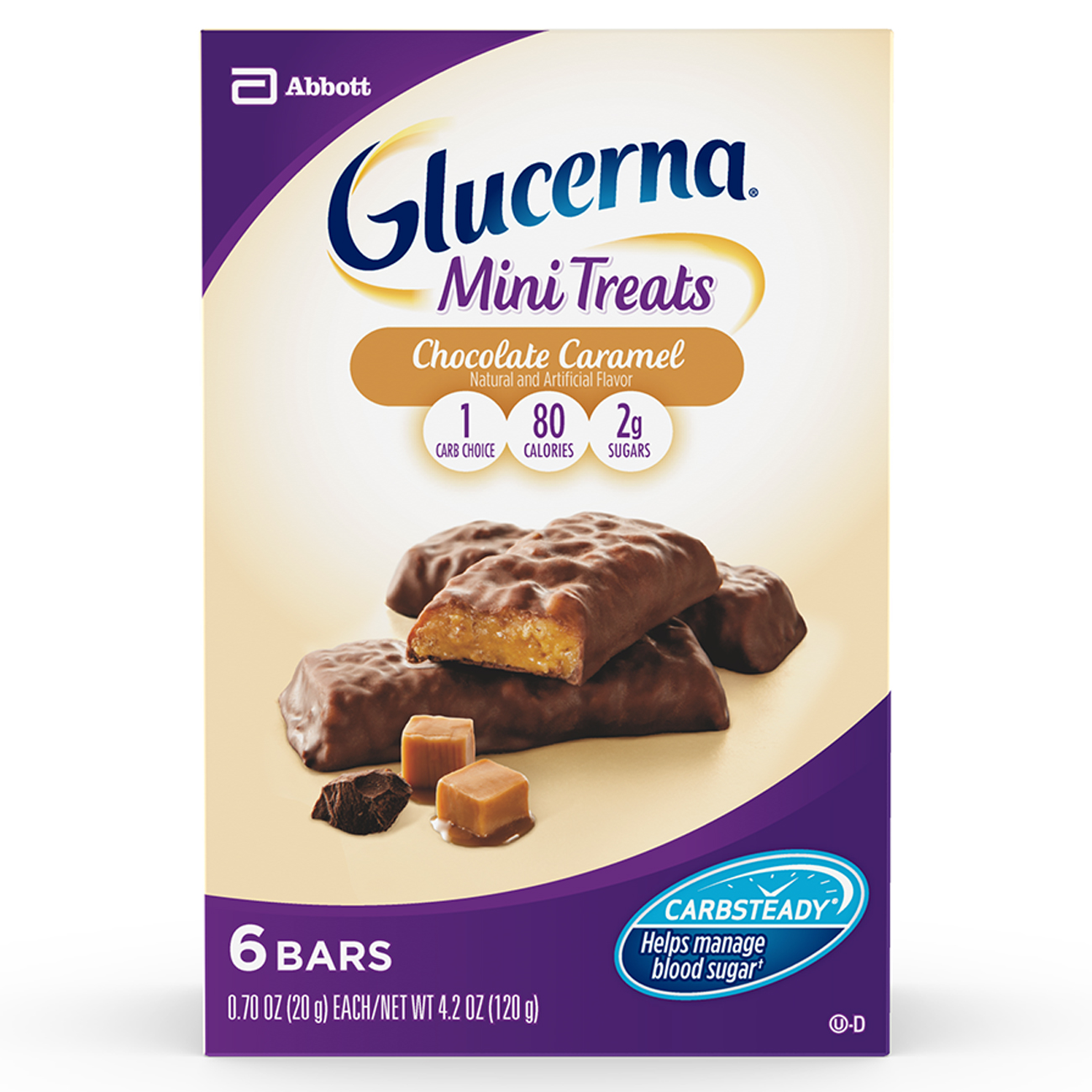 Glucerna Mini Treat Bars, To Help Manage Blood Sugar, Chocolate Caramel, 0.70 oz, 6 Count
