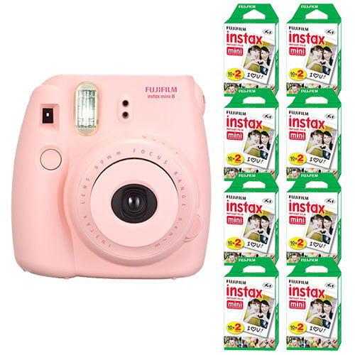 FujiFilm Instax Mini 8 Fuji Instant Film Camera Pink + 160 SHeets Instant Film by Think Big