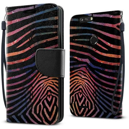 FINCIBO Wallet Case Kickstand Card Holder Magnetic Flap for ZTE Blade Z Max Z982, Zebra Stripes