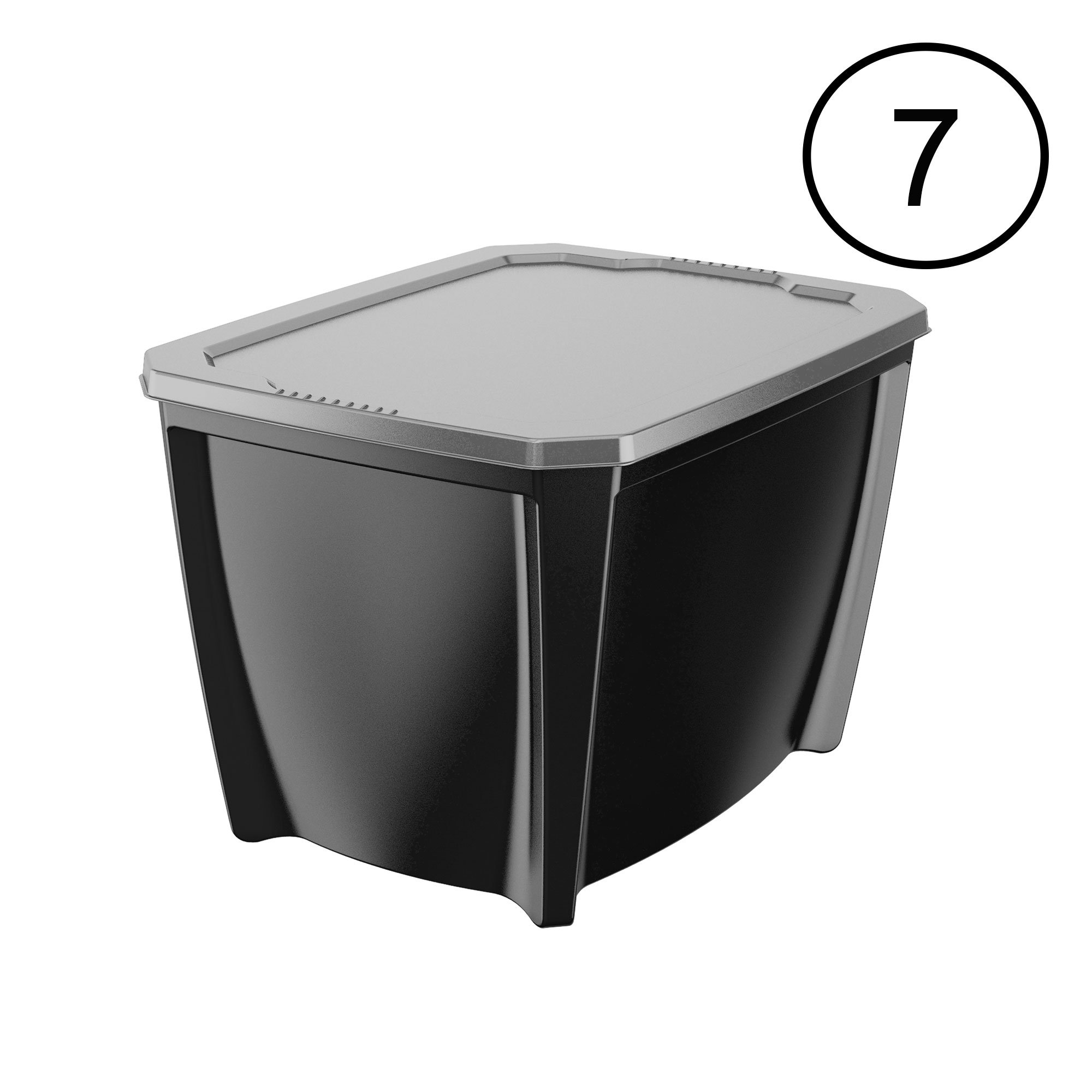Life Story Black 20 Gal Stackable Organization Storage Box Container (7 Pack)