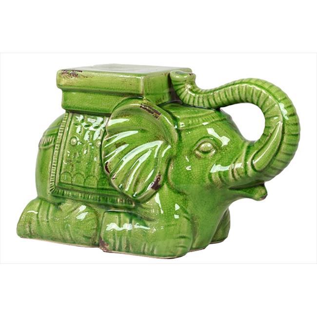 Urban Trend 22104 10 in. H Ceramic Elephant Antique Green