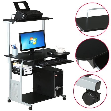 yaheetech 2 tier computer desk with printer shelf stand home office rolling study table black. Black Bedroom Furniture Sets. Home Design Ideas