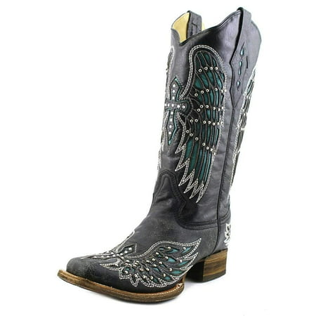CORRAL Women's Turquoise Wing Inlay and Crystal Studded Cross Embroidered Square Toe Cowgirl Boots A1142 (8.5 B(M) US) (Corral Boots Women Cross)