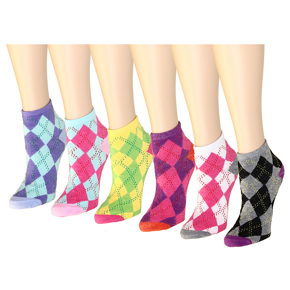 12 Pairs Women's Socks Assorted Colors Size 9-11 (Argyle)