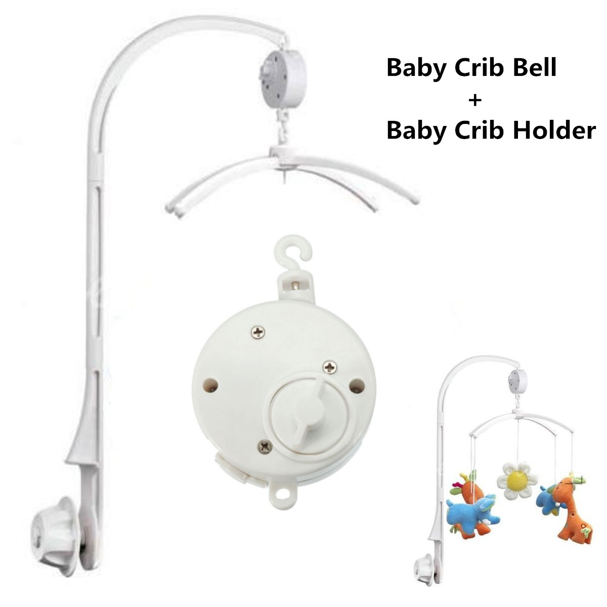 DIY White 4Pcs Baby Infant Crib Mobile Bed Bell Toy Holder Arm Bracket + Wind-up Music Box by