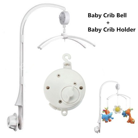 DIY White 4Pcs Baby Infant Crib Mobile Bed Bell Toy Holder Arm Bracket + Wind-up Music Box